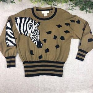 Vintage Escada Margaretha Ley Zebra knit sweater
